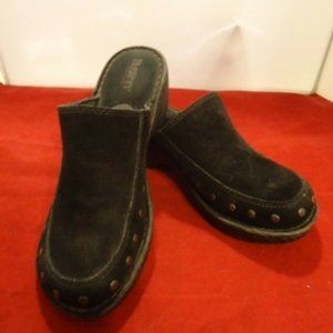 Born black suede clogs size 8